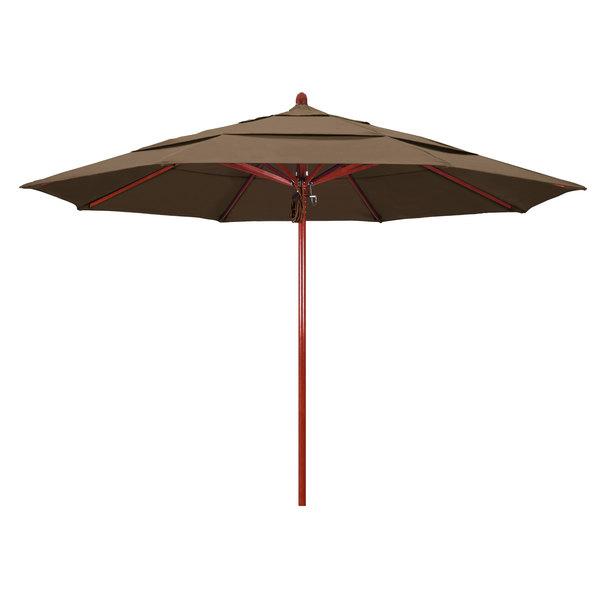 "Cocoa Fabric California Umbrella FLEX 118 SUNBRELLA 1A Sierra 11' Round Pulley Lift Umbrella with 2"" Red Oak Fiberglass Pole - Sunbrella 1A Canopy"