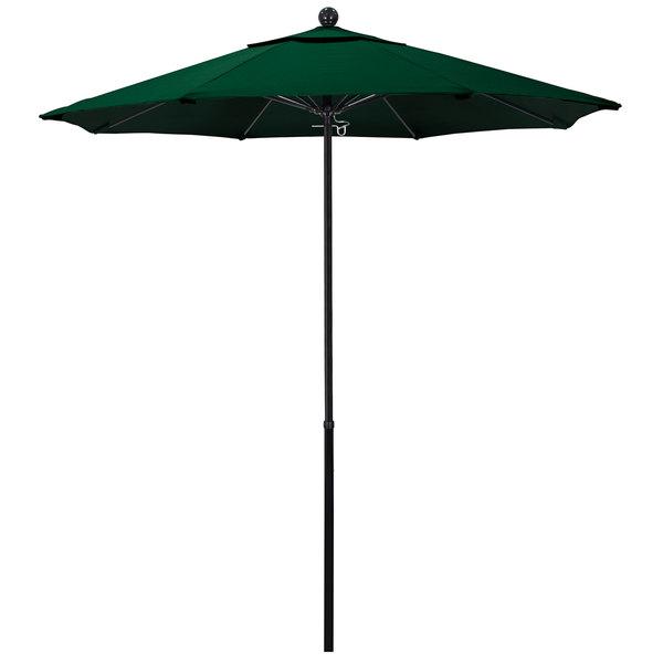 "Hunter Green Fabric California Umbrella EFFO 758 OLEFIN Oceanside 7 1/2' Round Push Lift Umbrella with 1 1/2"" Fiberglass Pole - Olefin Canopy"