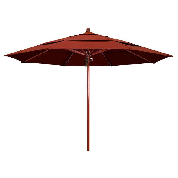 "Terracotta Fabric California Umbrella FLEX 118 SUNBRELLA 2A Sierra 11' Round Pulley Lift Umbrella with 2"" Red Oak Fiberglass Pole - Sunbrella 2A Canopy"