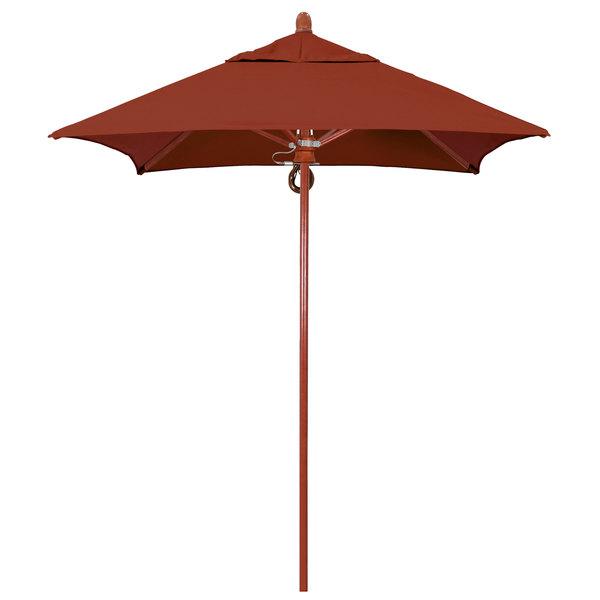 "Terracotta Fabric California Umbrella FLEX 604 SUNBRELLA 2A Sierra 6' Square Pulley Lift Umbrella with 1 1/2"" Red Oak Fiberglass Pole - Sunbrella 2A Canopy"