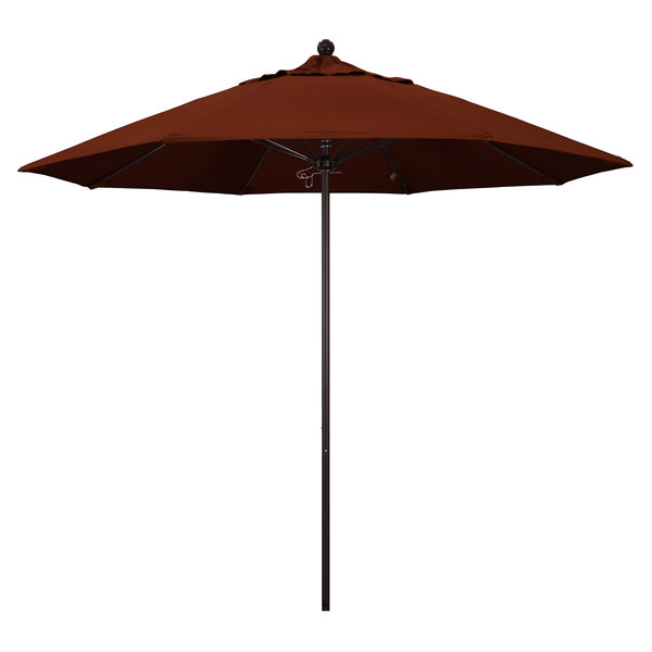 "Brick Fabric California Umbrella ALTO 908 PACIFICA Venture 9' Round Push Lift Umbrella with 1 1/2"" Bronze Aluminum Pole - Pacifica Canopy"