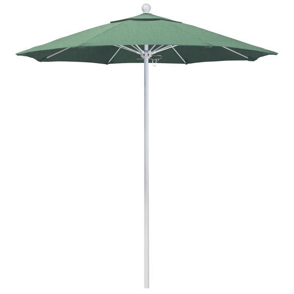 """Spa Fabric California Umbrella ALTO 758 PACIFICA Venture 7 1/2' Round Push Lift Umbrella with 1 1/2"""" Matte White Aluminum Pole - Pacifica Canopy"""
