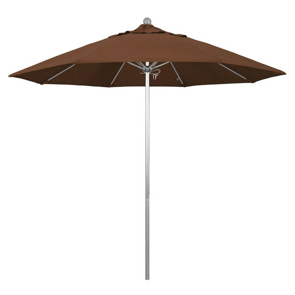 "Teak Fabric California Umbrella ALTO 908 OLEFIN Venture 9' Round Push Lift Umbrella with 1 1/2"" Silver Anodized Aluminum Pole - Olefin Canopy"