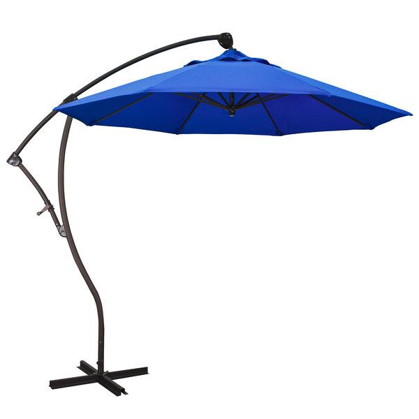 "Pacific Blue Fabric California Umbrella BA908 PACIFICA Bayside 9' Crank Lift Cantilever Umbrella with 2"" Aluminum Pole - Pacifica Canopy"