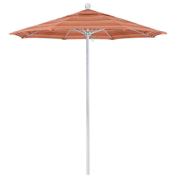 "Dolce Mango Fabric California Umbrella ALTO 758 SUNBRELLA 1A Venture Customizable 7 1/2' Round Push Lift Umbrella with 1 1/2"" Matte White Aluminum Pole - Sunbrella 1A Canopy"