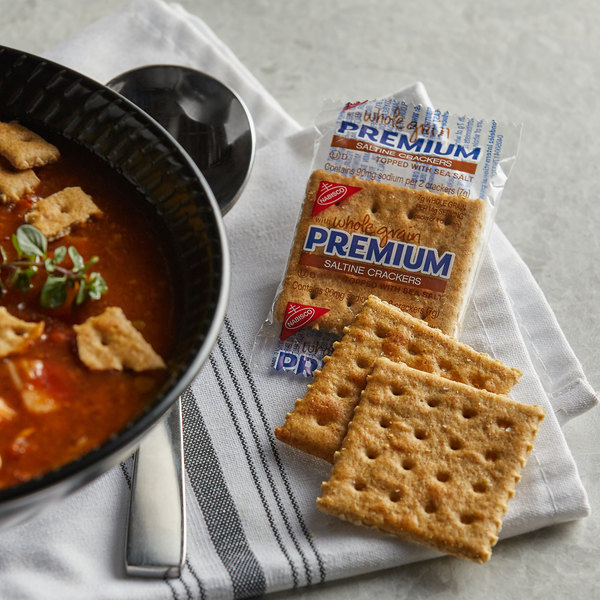 Nabisco Premium 2 Count (0.24 oz.) Whole Grain Saltine Crackers - 500/Case