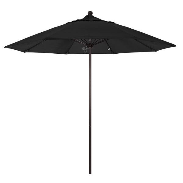 "Black Fabric California Umbrella ALTO 908 OLEFIN Venture 9' Round Push Lift Umbrella with 1 1/2"" Bronze Aluminum Pole - Olefin Canopy"