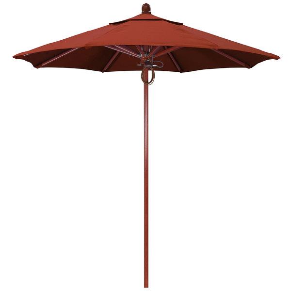 "Terracotta Fabric California Umbrella FLEX 758 SUNBRELLA 2A Sierra 7 1/2' Round Pulley Lift Umbrella with 1 1/2"" Red Oak Fiberglass Pole - Sunbrella 2A Canopy"