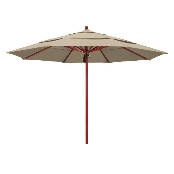 "Beige Fabric California Umbrella FLEX 118 PACIFICA Sierra 11' Round Pulley Lift Umbrella with 2"" Red Oak Fiberglass Pole"