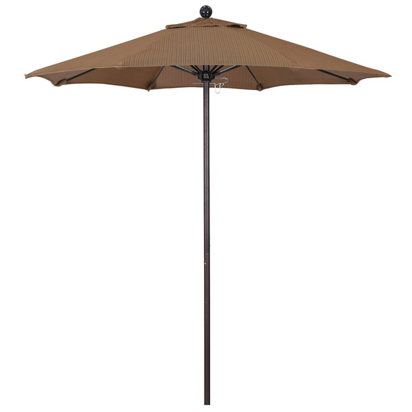 "Terrace Sequoia Fabric California Umbrella ALTO 758 OLEFIN Venture 7 1/2' Round Push Lift Umbrella with 1 1/2"" Bronze Aluminum Pole - Olefin Canopy"
