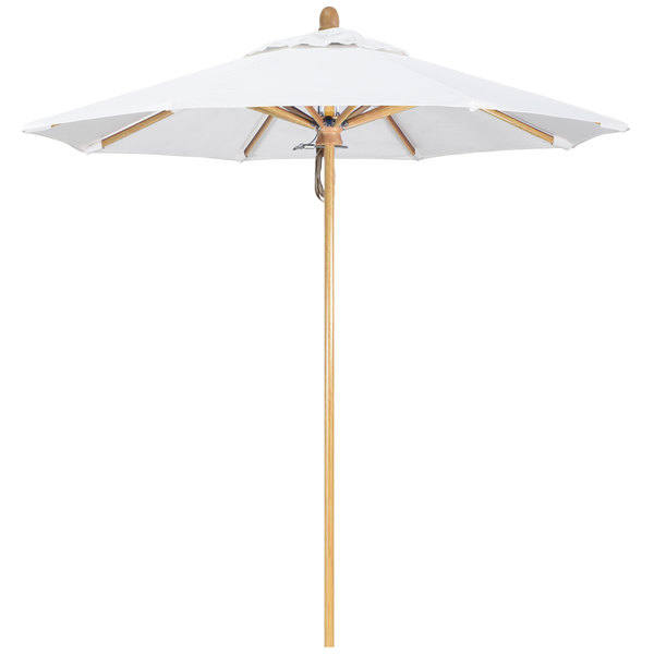 "Natural Fabric California Umbrella FLEX 758 SUNBRELLA 1A Sierra Customizable 7 1/2' Round Pulley Lift Umbrella with 1 1/2"" White Oak Fiberglass Pole - Sunbrella 1A Canopy"