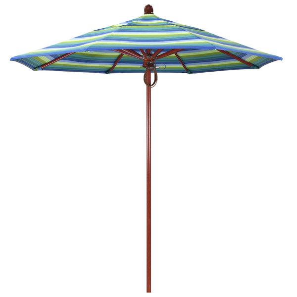 "Seville Seaside Fabric California Umbrella FLEX 758 SUNBRELLA 1A Sierra Customizable 7 1/2' Round Pulley Lift Umbrella with 1 1/2"" Red Oak Fiberglass Pole - Sunbrella 1A Canopy"