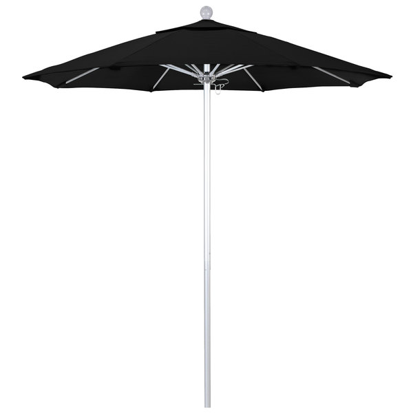 "Black Fabric California Umbrella ALTO 758 SUNBRELLA 1A Venture Customizable 7 1/2' Round Push Lift Umbrella with 1 1/2"" Silver Anodized Aluminum Pole - Sunbrella 1A Canopy"