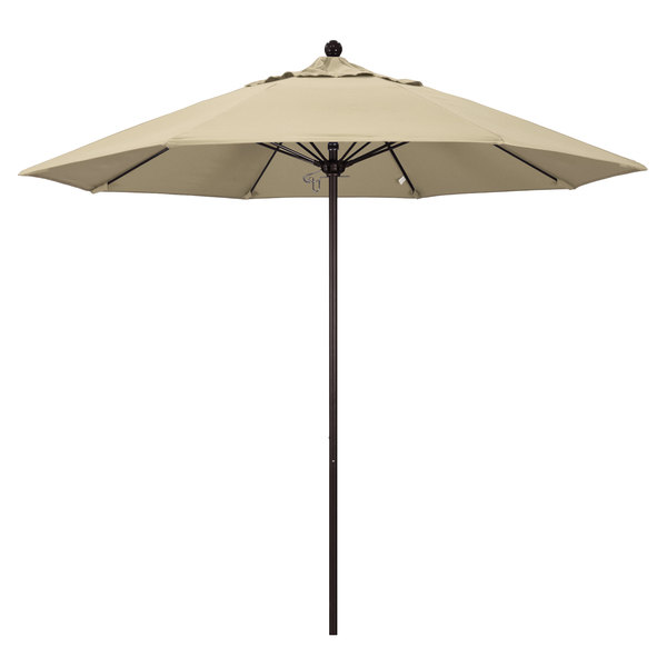 "Beige Fabric California Umbrella ALTO 908 PACIFICA Venture 9' Round Push Lift Umbrella with 1 1/2"" Bronze Aluminum Pole - Pacifica Canopy"