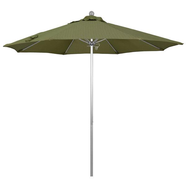 "Terrace Fern Fabric California Umbrella ALTO 908 OLEFIN Venture 9' Round Push Lift Umbrella with 1 1/2"" Silver Anodized Aluminum Pole - Olefin Canopy"