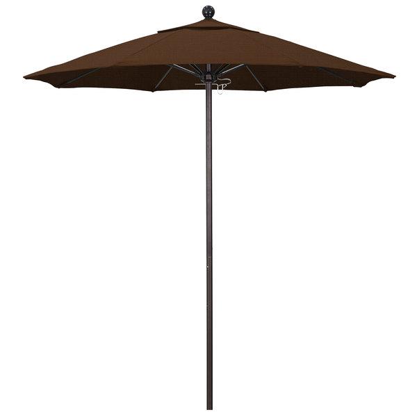 "Teak Fabric California Umbrella ALTO 758 OLEFIN Venture 7 1/2' Round Push Lift Umbrella with 1 1/2"" Bronze Aluminum Pole - Olefin Canopy"