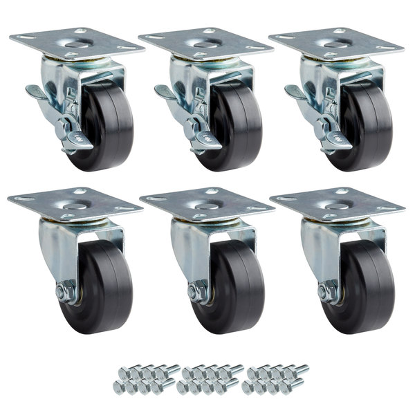 "Avantco 178A3PCKIT6 3"" Swivel Plate Casters with Mounting Hardware - 6/Set"