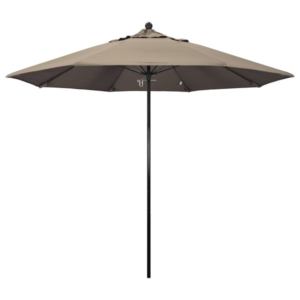 "Taupe Fabric California Umbrella EFFO 908 SUNBRELLA 1A Oceanside Customizable 9' Round Push Lift Umbrella with 1 1/2"" Fiberglass Pole - Sunbrella 1A Canopy"