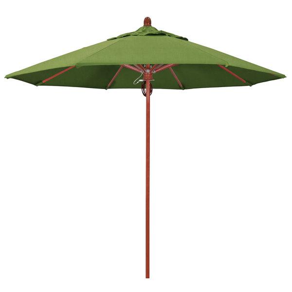 "Spectrum Cilantro Fabric California Umbrella FLEX 908 SUNBRELLA 1A Sierra Customizable 9' Round Pulley Lift Umbrella with 1 1/2"" Red Oak Fiberglass Pole - Sunbrella 1A Canopy"