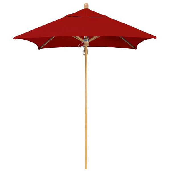 "Jockey Red Fabric California Umbrella FLEX 604 SUNBRELLA 2A Sierra 6' Square Pulley Lift Umbrella with 1 1/2"" White Oak Fiberglass Pole - Sunbrella 2A Canopy"
