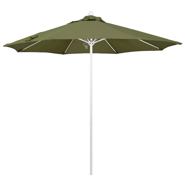 "Terrace Fern Fabric California Umbrella ALTO 908 OLEFIN Venture 9' Round Push Lift Umbrella with 1 1/2"" Matte White Aluminum Pole - Olefin Canopy"