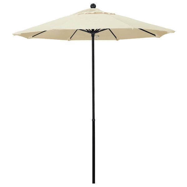"Canvas Fabric California Umbrella EFFO 758 PACIFICA Oceanside 7 1/2' Round Push Lift Umbrella with 1 1/2"" Fiberglass Pole - Pacifica Canopy"