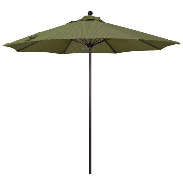 "Terrace Fern Fabric California Umbrella ALTO 908 OLEFIN Venture 9' Round Push Lift Umbrella with 1 1/2"" Bronze Aluminum Pole - Olefin Canopy"
