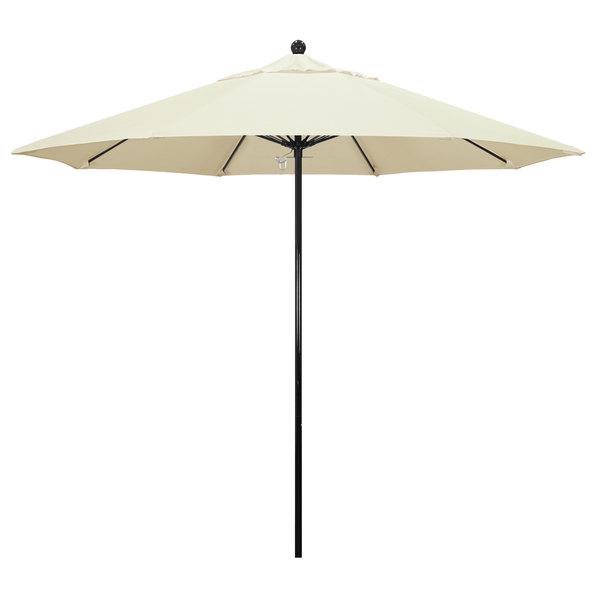 "Canvas Fabric California Umbrella EFFO 908 PACIFICA Oceanside 9' Round Push Lift Umbrella with 1 1/2"" Fiberglass Pole - Pacifica Canopy"