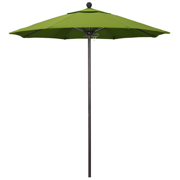 "Macaw Fabric California Umbrella ALTO 758 SUNBRELLA 2A Venture 7 1/2' Round Push Lift Umbrella with 1 1/2"" Bronze Aluminum Pole - Sunbrella 2A Canopy"