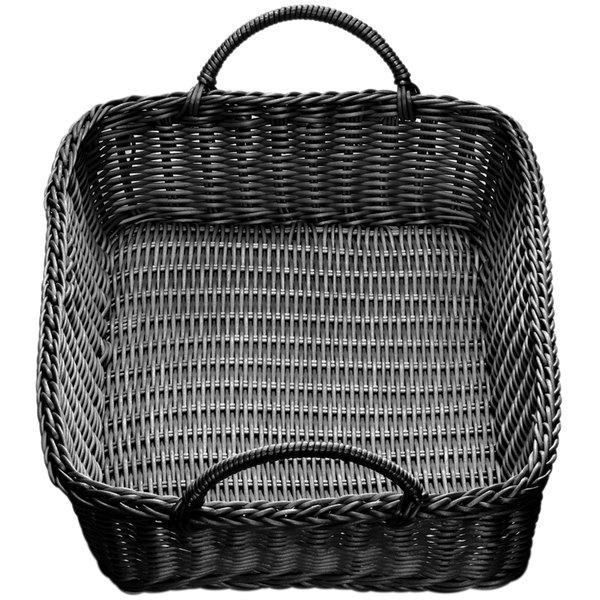 "Tablecraft M2493H Black Rectangular Rattan Basket with Handles 19"" x 14"" x 4"""
