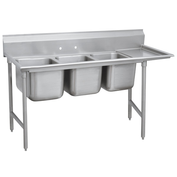 """Right Drainboard Advance Tabco 93-23-60-18 Regaline Three Compartment Stainless Steel Sink with One Drainboard - 89"""""""