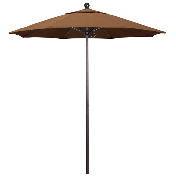 "Teak Fabric California Umbrella ALTO 758 SUNBRELLA 1A Venture Customizable 7 1/2' Round Push Lift Umbrella with 1 1/2"" Bronze Aluminum Pole - Sunbrella 1A Canopy"