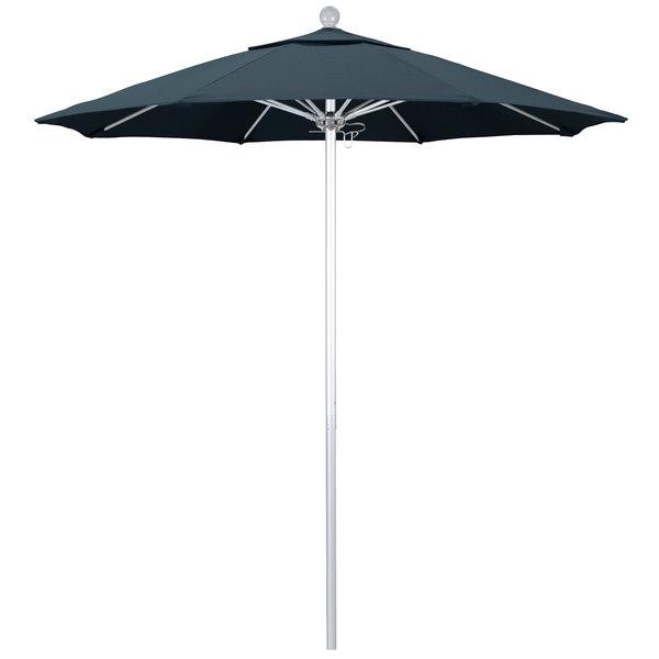 """Sapphire Blue Fabric California Umbrella ALTO 758 PACIFICA Venture 7 1/2' Round Push Lift Umbrella with 1 1/2"""" Silver Anodized Aluminum Pole - Pacifica Canopy"""