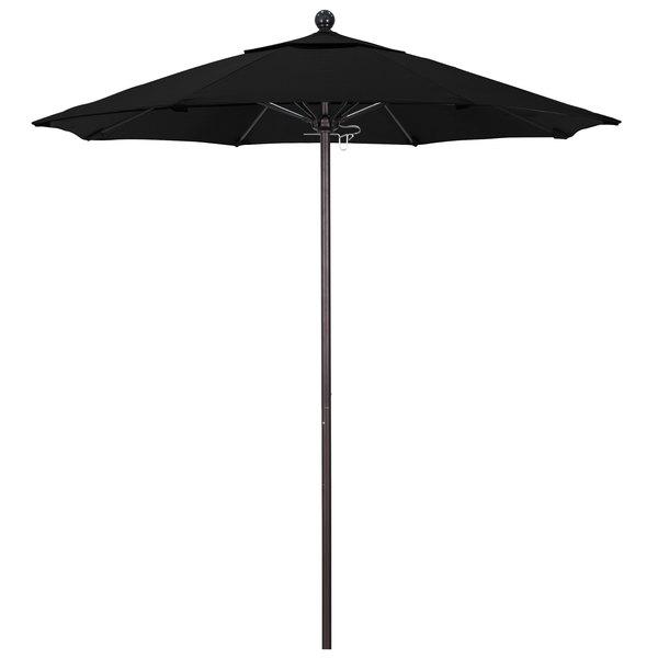 "Black Fabric California Umbrella ALTO 758 SUNBRELLA 1A Venture Customizable 7 1/2' Round Push Lift Umbrella with 1 1/2"" Bronze Aluminum Pole - Sunbrella 1A Canopy"