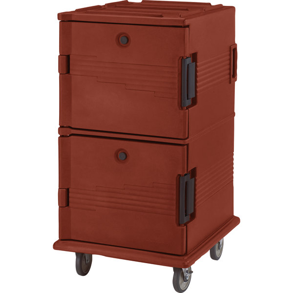 Cambro UPC1600SP402 Ultra Camcarts® Brick Red Insulated Food Pan Carrier with Heavy-Duty Casters and Security Package - Holds 24 Pans Main Image 1