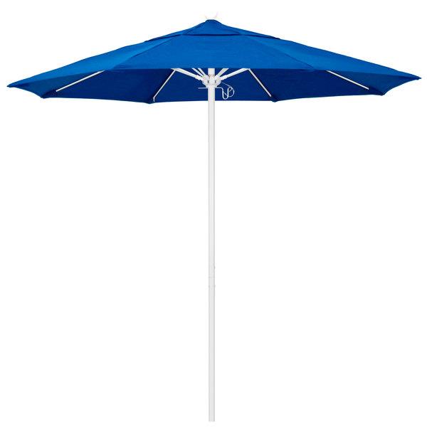 """Pacific Blue Fabric California Umbrella ALTO 758 SUNBRELLA 1A Venture Customizable 7 1/2' Round Push Lift Umbrella with 1 1/2"""" Matte White Aluminum Pole - Sunbrella 1A Canopy"""
