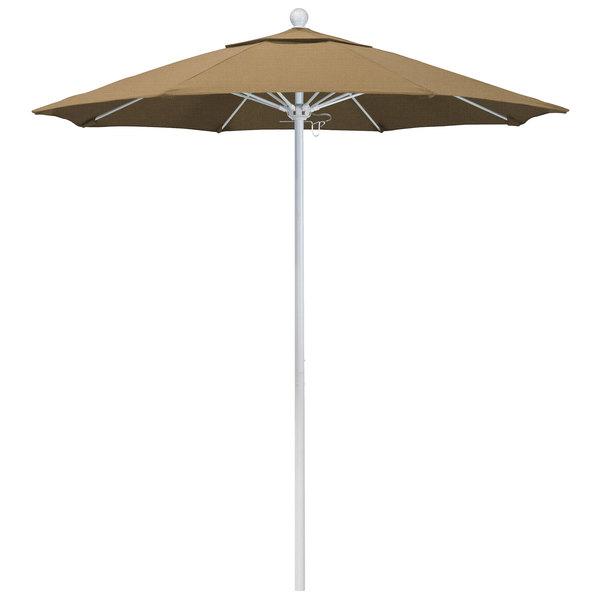 """Straw Fabric California Umbrella ALTO 758 OLEFIN Venture 7 1/2' Round Push Lift Umbrella with 1 1/2"""" Matte White Aluminum Pole - Olefin Canopy"""