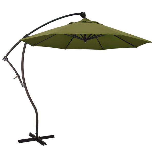 "Palm Fabric California Umbrella BA908 PACIFICA Bayside 9' Crank Lift Cantilever Umbrella with 2"" Aluminum Pole - Pacifica Canopy"