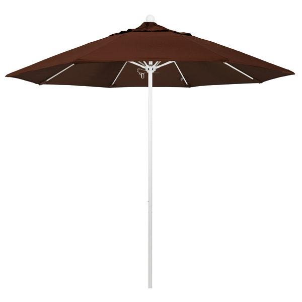 """Bay Brown Fabric California Umbrella ALTO 908 SUNBRELLA 2A Venture 9' Round Push Lift Umbrella with 1 1/2"""" Matte White Aluminum Pole - Sunbrella 2A Canopy"""