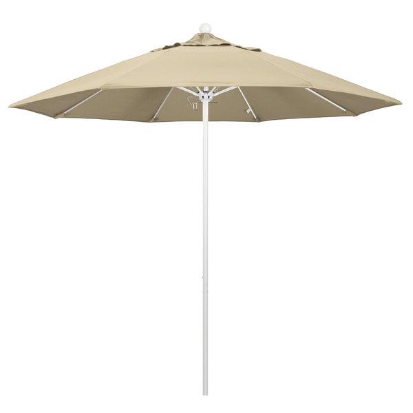 """Beige Fabric California Umbrella ALTO 908 SUNBRELLA 1A Venture 9' Round Push Lift Umbrella with 1 1/2"""" Matte White Aluminum Pole - Sunbrella 1A Canopy"""