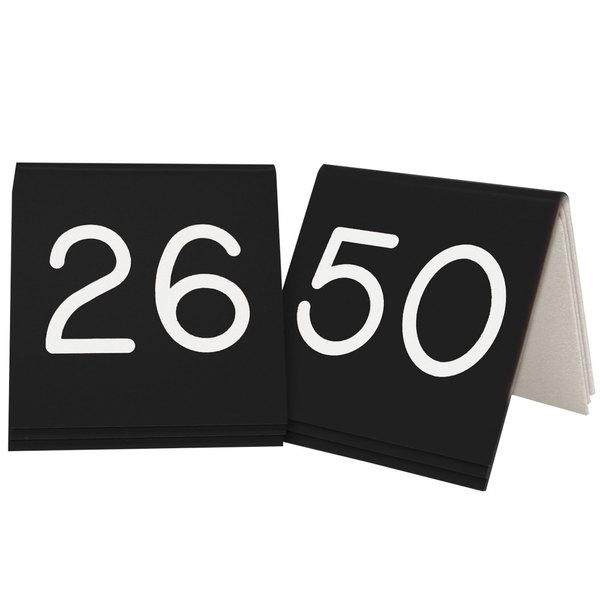 """Cal-Mil 269B-2 Black Engraved Number Tent Sign Set 26-50 - 3"""" x 3"""""""