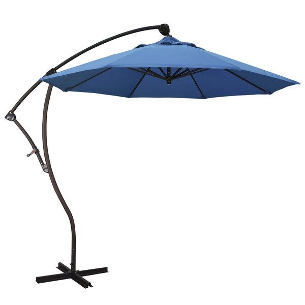 "Capri Fabric California Umbrella BA908 PACIFICA Bayside 9' Crank Lift Cantilever Umbrella with 2"" Aluminum Pole - Pacifica Canopy"