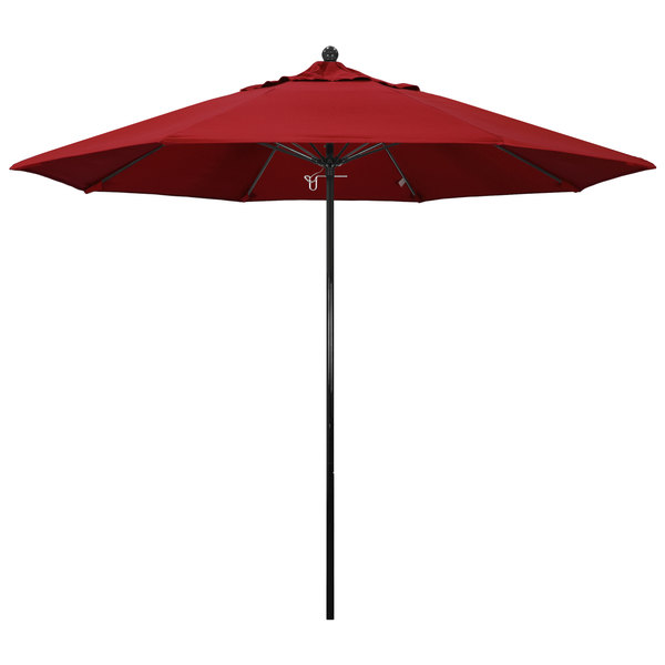 "Jockey Red Fabric California Umbrella EFFO 908 PACIFICA Oceanside 9' Round Push Lift Umbrella with 1 1/2"" Fiberglass Pole - Pacifica Canopy"