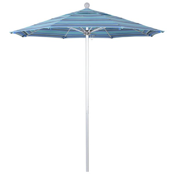 "Dolce Oasis Fabric California Umbrella ALTO 758 SUNBRELLA 1A Venture Customizable 7 1/2' Round Push Lift Umbrella with 1 1/2"" Silver Anodized Aluminum Pole - Sunbrella 1A Canopy"