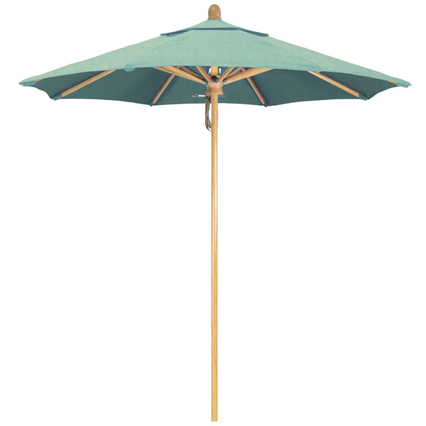"Spa Fabric California Umbrella FLEX 758 SUNBRELLA 1A Sierra Customizable 7 1/2' Round Pulley Lift Umbrella with 1 1/2"" White Oak Fiberglass Pole - Sunbrella 1A Canopy"
