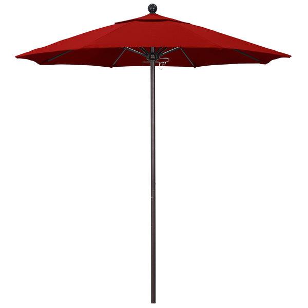 "Jockey Red Fabric California Umbrella ALTO 758 SUNBRELLA 2A Venture 7 1/2' Round Push Lift Umbrella with 1 1/2"" Bronze Aluminum Pole - Sunbrella 2A Canopy"