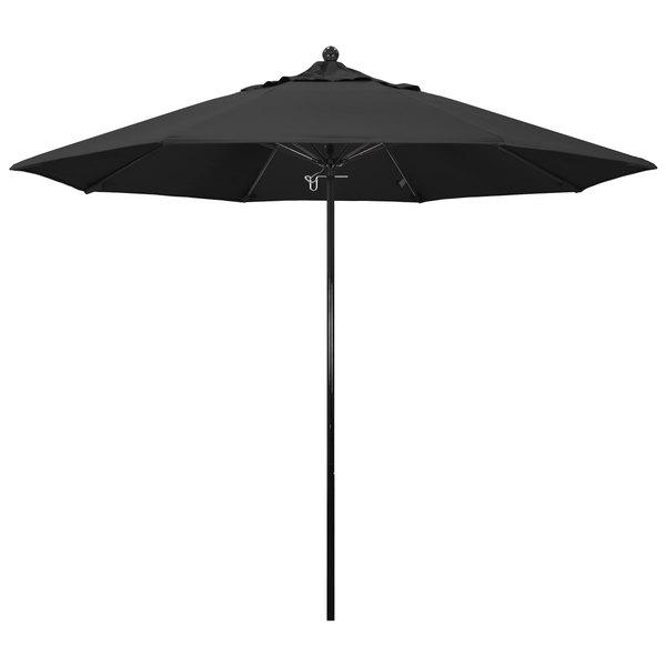 "Black Fabric California Umbrella EFFO 908 PACIFICA Oceanside 9' Round Push Lift Umbrella with 1 1/2"" Fiberglass Pole - Pacifica Canopy"