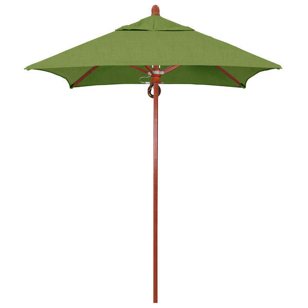 "Spectrum Cilantro Fabric California Umbrella FLEX 604 SUNBRELLA 1A Sierra Customizable 6' Square Pulley Lift Umbrella with 1 1/2"" Red Oak Fiberglass Pole - Sunbrella 1A Canopy"