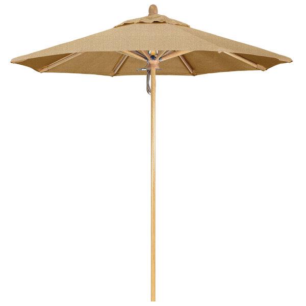"Linen Sesame Fabric California Umbrella FLEX 758 SUNBRELLA 2A Sierra 7 1/2' Round Pulley Lift Umbrella with 1 1/2"" White Oak Fiberglass Pole - Sunbrella 2A Canopy"