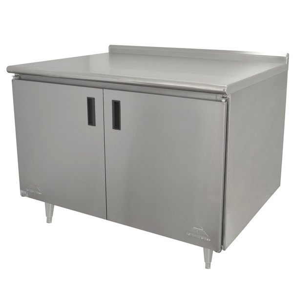 "Advance Tabco HF-SS-363 36"" x 36"" 14 Gauge Enclosed Base Stainless Steel Work Table with Hinged Doors and 1 1/2"" Backsplash"